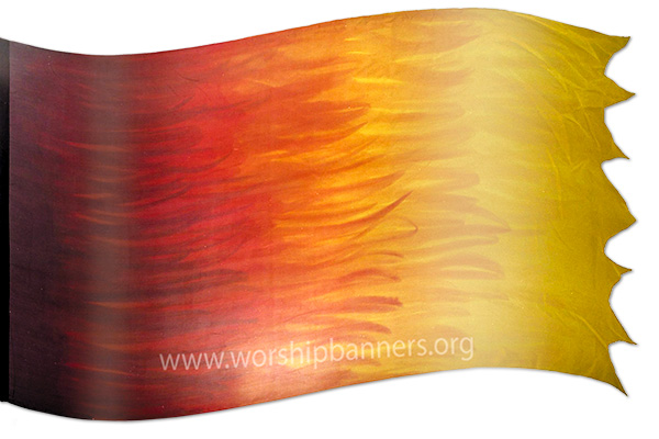 "The design ""Holy Fire"" in hand crafted silk"