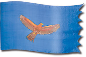 "The design ""Soaring Eagle - Light"" in hand crafted silk"